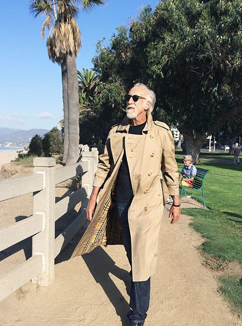 TBWA Chairman Lee Clow wearing a Burberry trench coat in Palisades Park, Los Angeles