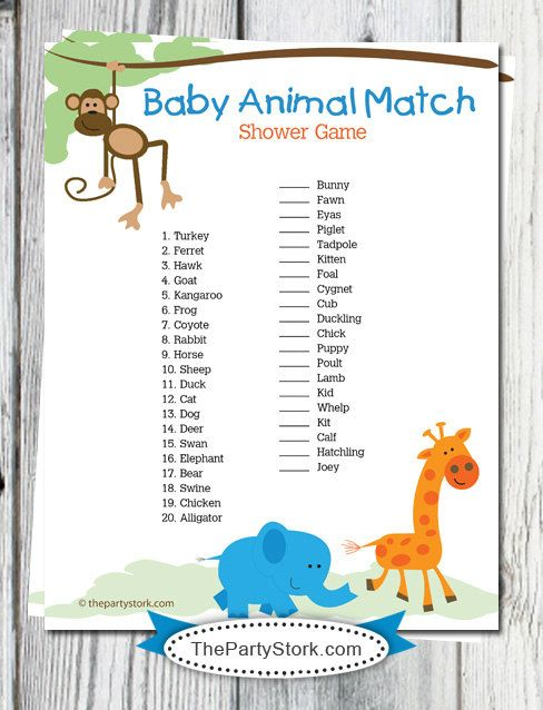 Safari Baby Shower Game: Baby Animal Match Jungle by thepartystork