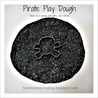 Create this black and gold play doh for your preschoolers pirate theme!