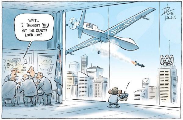 ABBOTT THE FASCIST ATTACKS ON AUNTY ABC Cartoon by DAVID POPE.