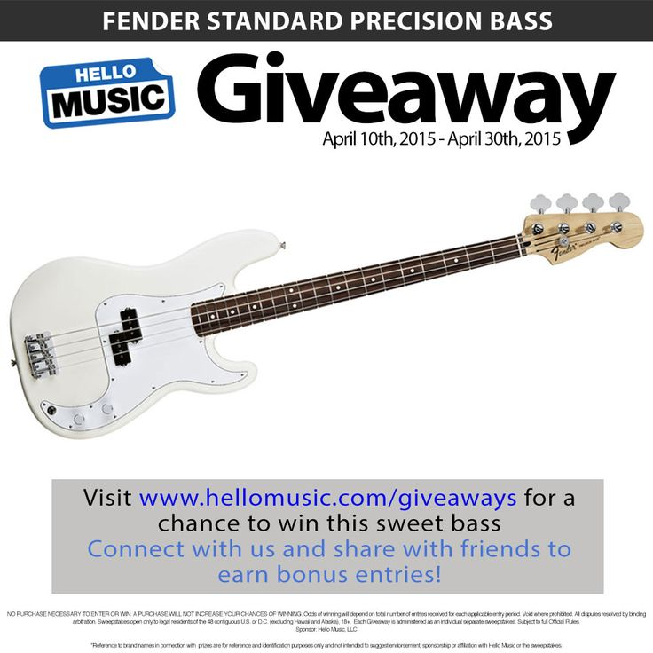 Win a Fender Precision Bass from Hello Music this April! Enter at www.hellomusic.com/giveaways