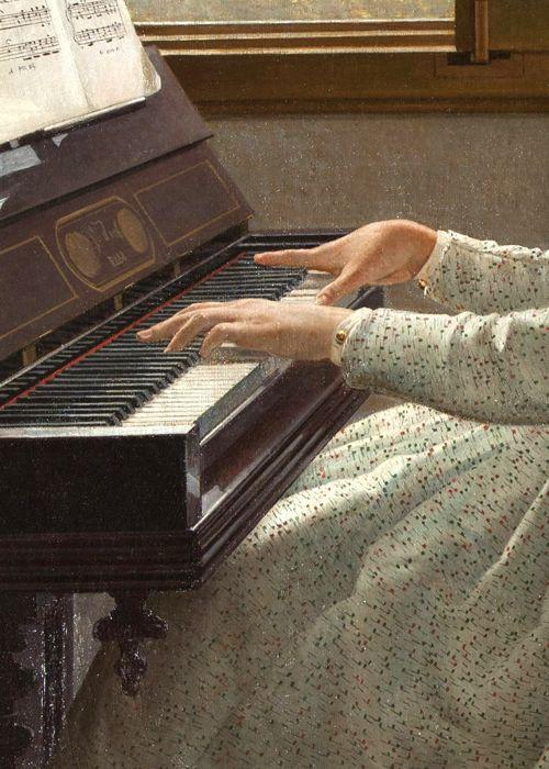 l canto di uno stornello by Silvestro Lega, 1868 (detail) music piano H♥M