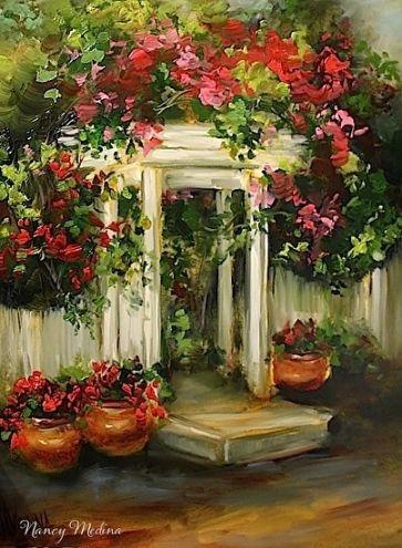 Cottage Path Geraniums by Texas Flower Artist Nancy Medina, painting by artist Nancy Medina