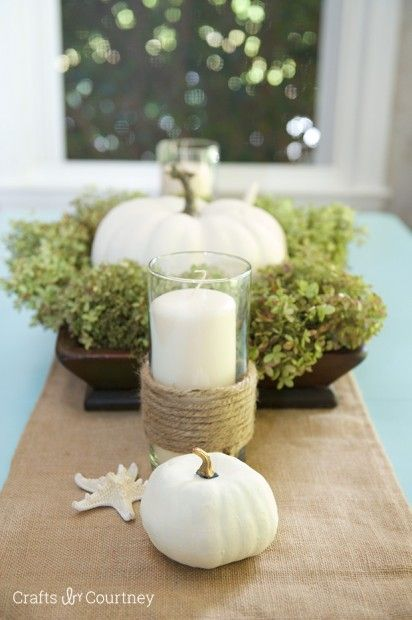 Coastal Fall Table Setting - Crafts by Courtney Home Tour