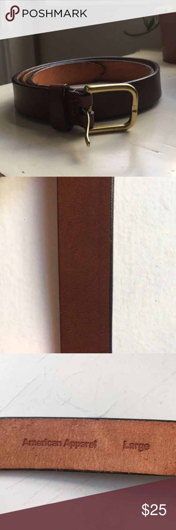 American Apparel Leather Belt American Apparel Brown Leather Belt. Approximately 40in in length and 1in in width. Gold belt buckle. New Without Tags American Apparel Accessories Belts