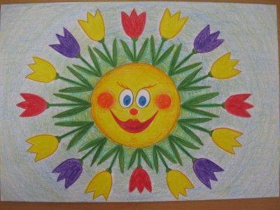 Jarní sluníčko - kresba pastelkami :: M o j e v ý t v a r k a