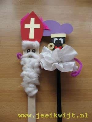 Knutselopdracht - Sinterklaas en Piet gemaakt van pollepels