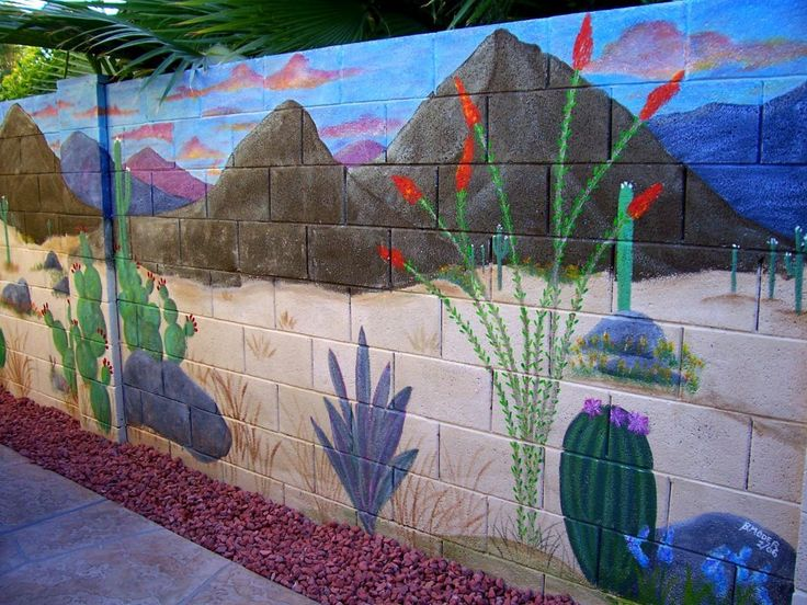 mural on cinder block wall   Artistic Joys cubit: Murals for the Outdoors forum: Block Wall Desert ...