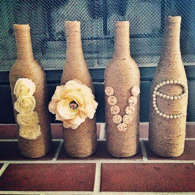 Wine Bottle DIY Crafts - Twine Wrapped Wine Bottles  - Projects for Lights, Decoration, Gift Ideas, Wedding, Christmas. Easy Cut Glass Ideas for Home Decor on Pinterest http://diyjoy.com/wine-bottle-crafts