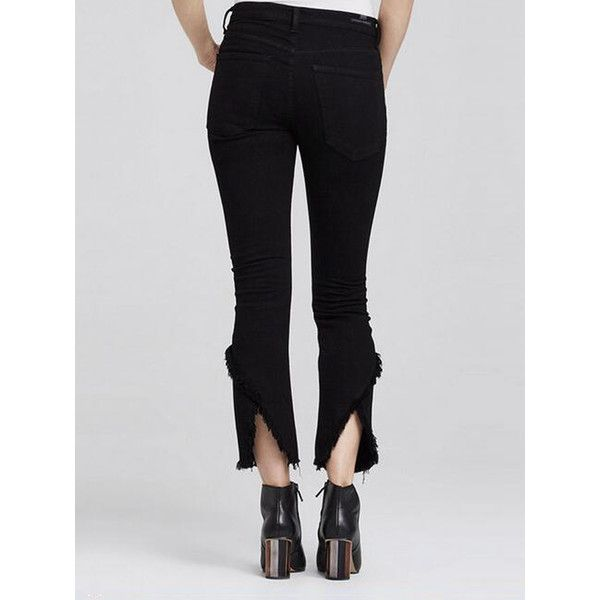 Black High Waist Raw Hem Cropped Flare Jeans (€34) ❤ liked on Polyvore featuring jeans, flared high waisted jeans, cropped flare jeans, high waisted jeans, raw hem cropped jeans and flared cropped jeans