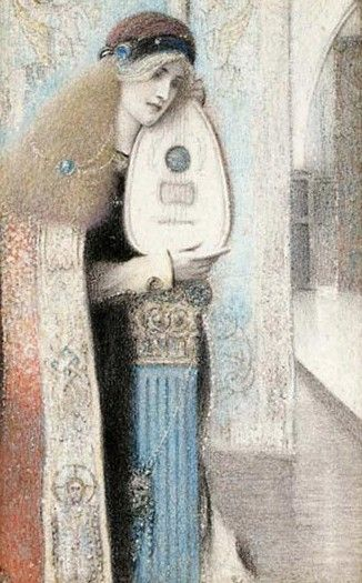 ♪ The Musical Arts ♪ music musician paintings - Fernand Khnopff   A Musician