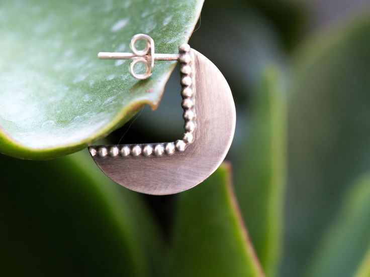 Sterling silver earrings, Silver stud earrings, Geometric earrings, Stud earrings, Mininmalist silver earrings, Artisan earrings, Metalwork by SILVERstro on Etsy
