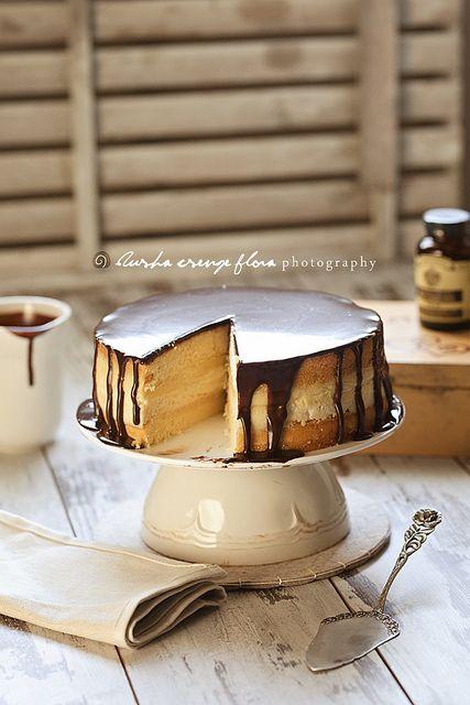 Boston Cream Pie filled with Vanilla Pudding & Cream Cheese Layer