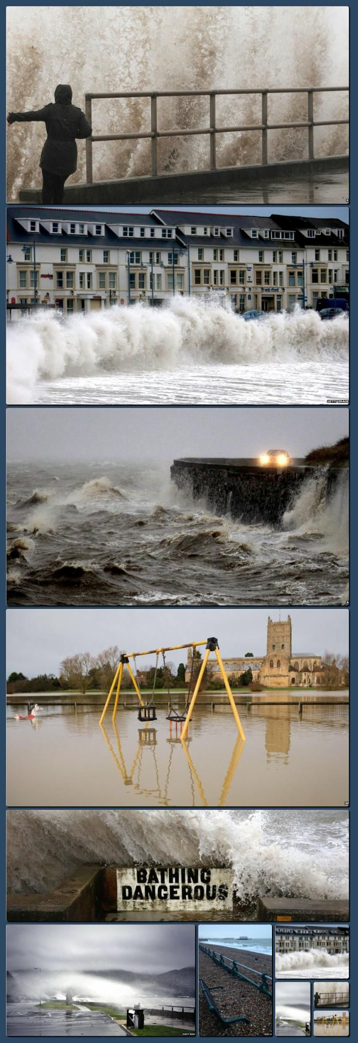 """UK storms disruption: 'People living on the west coast are being warned to expect """"exceptional waves"""" on Monday as what forecasters describe as a highly unusual set of storms continues to cause disruption' [Collage made with one click using http://pagecollage.com] #pagecollage"""