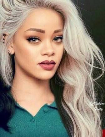 Image Result For Brown Skin Platinum Blonde Hair Rihanna