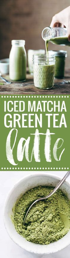 Iced Matcha Green Tea Latte - 3 ingredient perfection for summer! almond milk, honey or agave, and matcha powder. | pinchofyum.com
