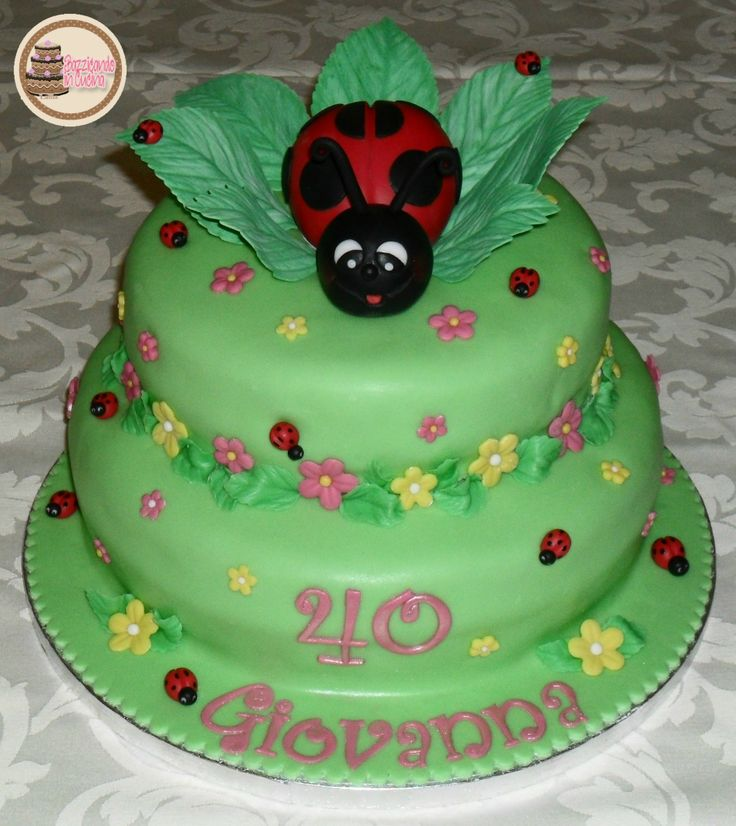 Ladybug and Flowers Cake. 40th Birthday Woman Cake.
