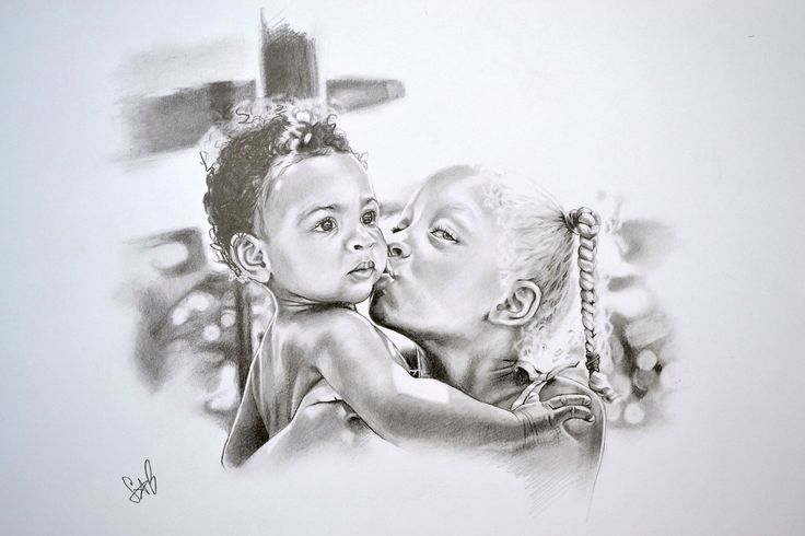 A pencil portrait of a friend's son & daughter for her husband's 40th