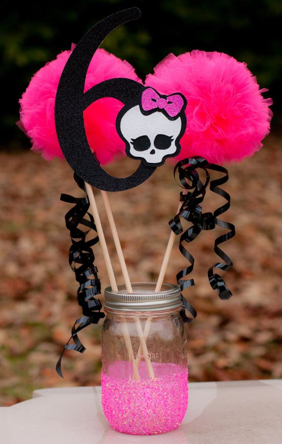 This listing is for a custom Monster High centerpiece. You choose number. You will receive:  1 number stick made from glittery card stock and