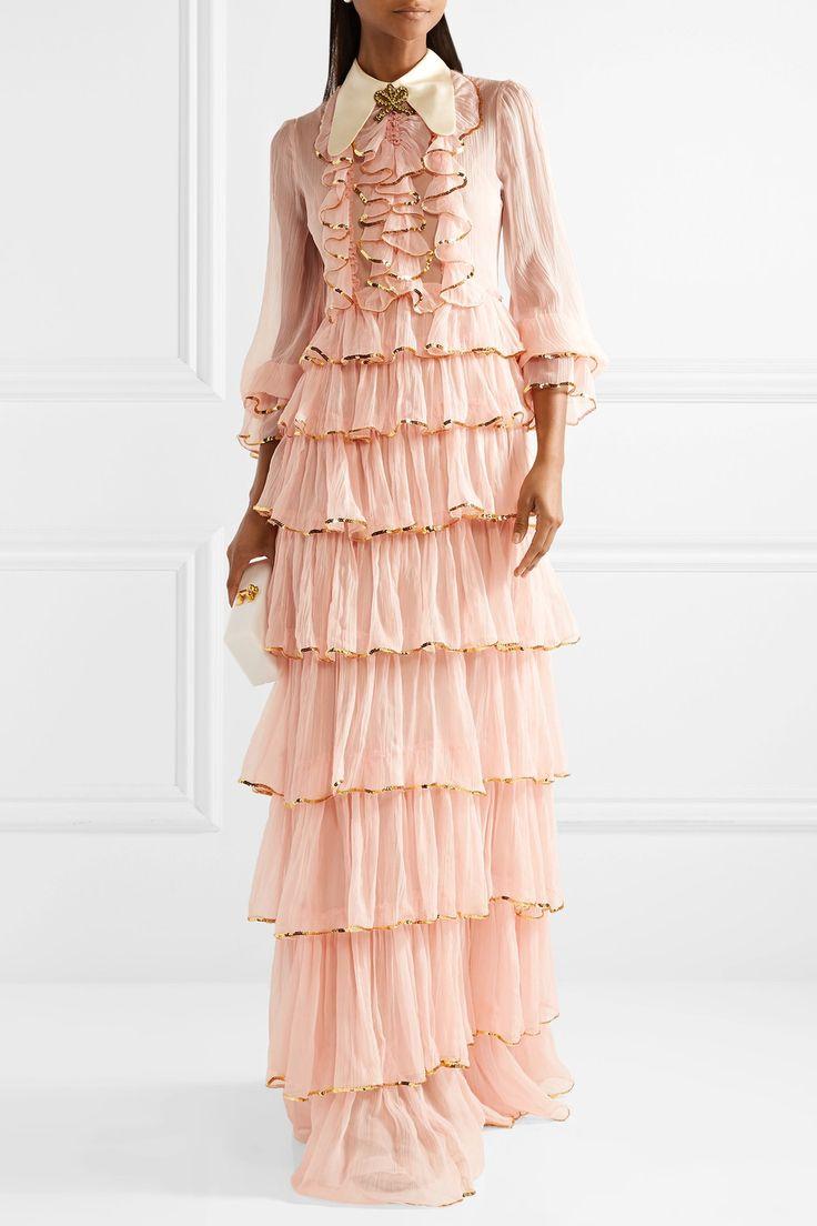 Gucci | Ruffled embellished silk-crepon gown | платье вечернее, нарядное платье, платье на вечер, платье на свадьбу, платье на выпускной, платье на бал, Можно сшить индивидуально, по вашим меркам, в интернет-ателье Namaha3d. www.livemaster.ru/namaha WhatsApp +380983457224