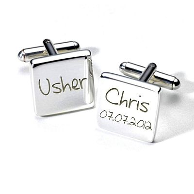 Usher wedding cufflinks personalised with his name