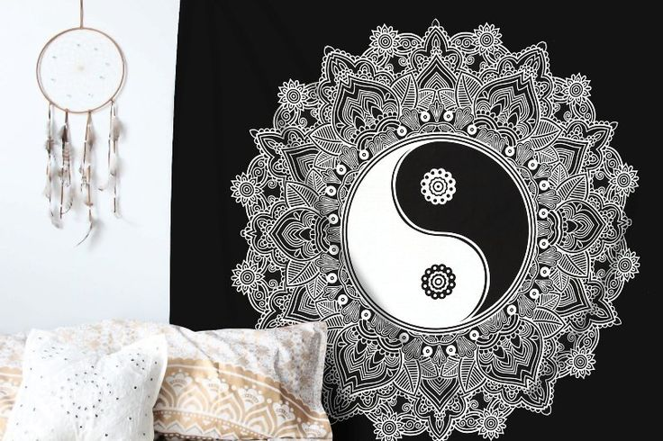 Amazon.com: Black And White Tapestry, YinYang Wall Hanging Tapestry, Mandala Tapestries, Indian Traditional Cotton Printed Bohemian Hippie Large Wall Art by SheetKart: Home & Kitchen