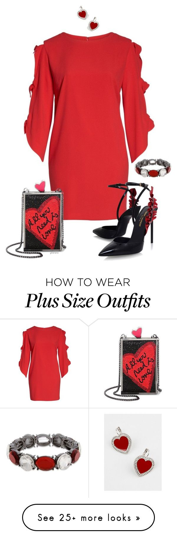 """Valentine's date- plus size"" by gchamama on Polyvore featuring Vince Camuto, Alice + Olivia, Yves Saint Laurent and Erica Lyons"