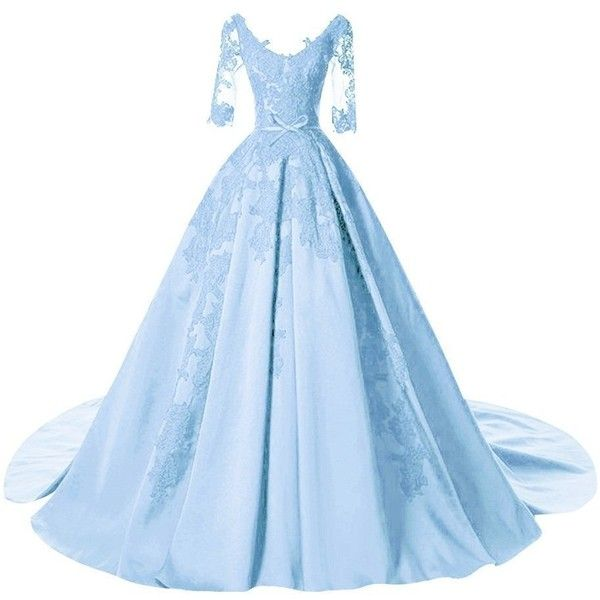DINGZAN Satin Applique Ball Prom Quinceanera Dresses Wedding Reception... (£53) ❤ liked on Polyvore featuring dresses, gowns, blue quinceanera dresses, blue evening gown, blue prom dresses, quinceanera gowns and quinceanera dresses