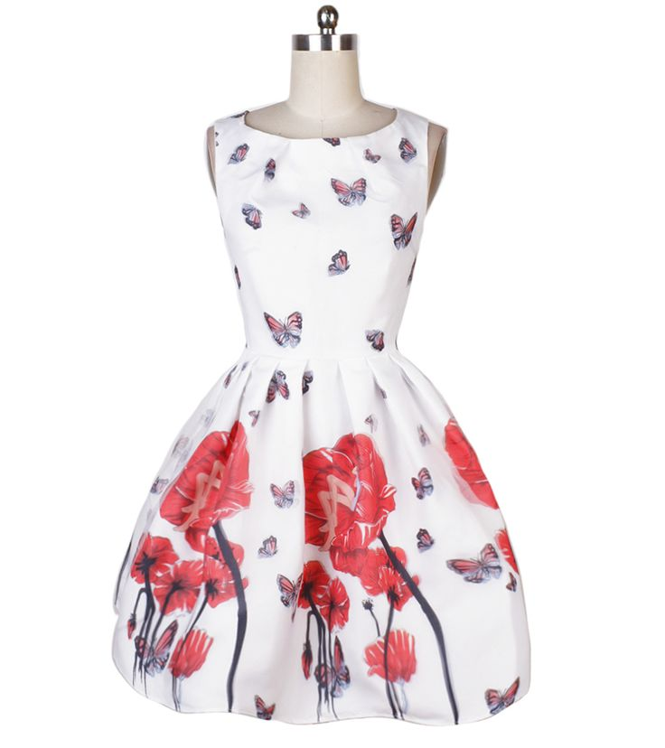 ==> [Free Shipping] Buy Best Sweet Ball Gown Party Dress Double Layer Fairy Butterfly Print Dress 60s Audrey Hepburn Vintage Dress Knee-length Swing Dresses Online with LOWEST Price | 32424067248