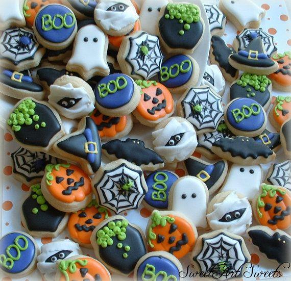 Halloween cookies - 3 OR 4 dozen MINI cookies - fall cookies - decorated cookies