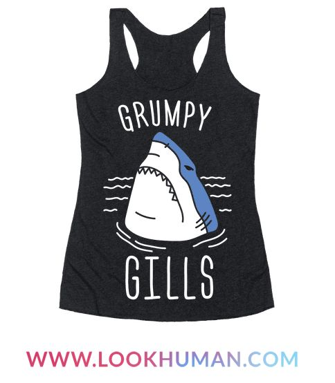 Show off your grumpy, sassy, sharkness with this sassy shark design featuring the text 'Grumpy Gills' and an angry shark illustration! Perfect for a shark lover, being grumpy, shark quotes, shark puns, shark jokes, and shark gifts!