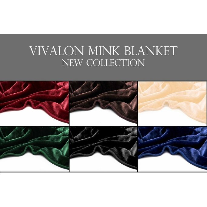 Vivalon Solid Color Silky Soft Heavy Duty Reversible Mink and King Size Blanket