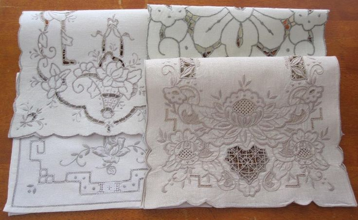 Four Authentic Hand Embroidered Linen Pieces Intricate Work in Antiques, Textiles, Linens, Lace, Crochet, Doilies | eBay SELLER ID: kathy_a1