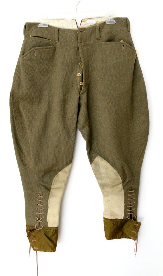 vintage WWI era BURBERRY Burberrys mens jodhpurs RIDING hunting pants equestrian military workwear 1900's