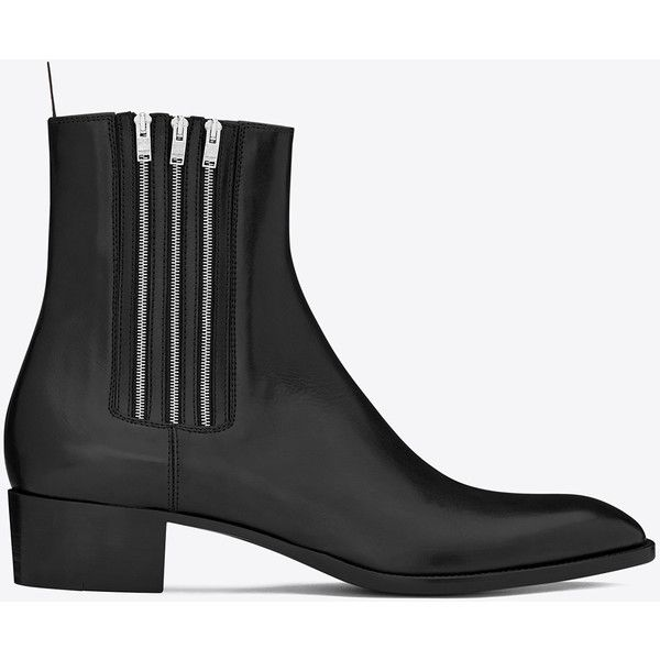 Saint Laurent Hedi 40 Zip Chelsea Boot ($830) ❤ liked on Polyvore featuring men's fashion, men's shoes, men's boots, shoes, mens slip on boots, yves saint laurent mens shoes, mens zipper shoes, mens leather sole shoes and mens slip on shoes