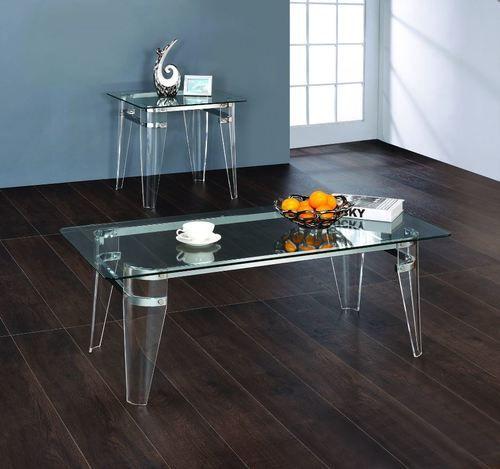 2 PC Amaranth Clear Coffee Table