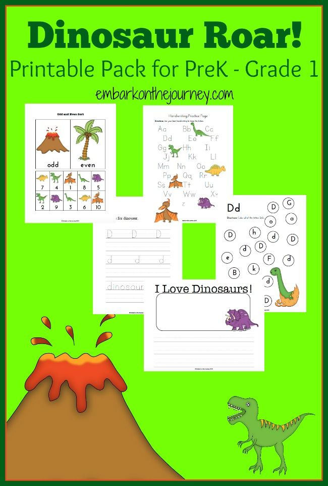 Your dinosaur fans will roar over this FREE printable for PreK-Grade 1!   embarkonthejourney.com
