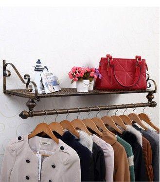 120*28cm Iron clothing display racks wall hanger holder bedroom clothes storage shelves hangers rack hanging shelf living room