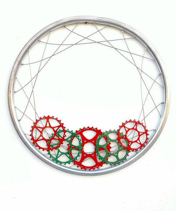 Holiday Wreath, Bicycle Parts, Recycled Christmas Decor, Christmas Wreath, Upcycled Winter Decoration