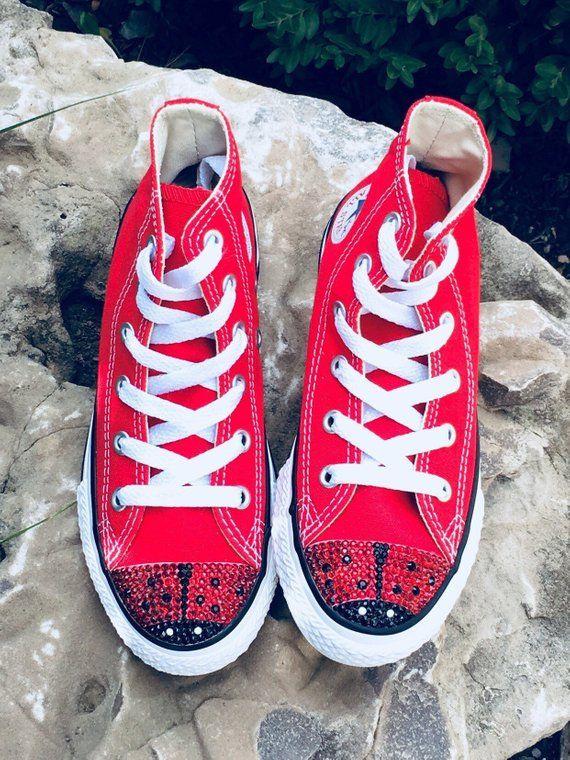 fc2622b7875d4 Ladybug Bling Shoes. Custom Converse Toddler Shoes. Ladybug ...