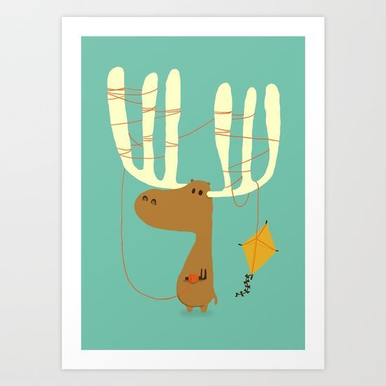 Cute, funny moose cartoon illustration playing kite. Whimsical, children, kids...