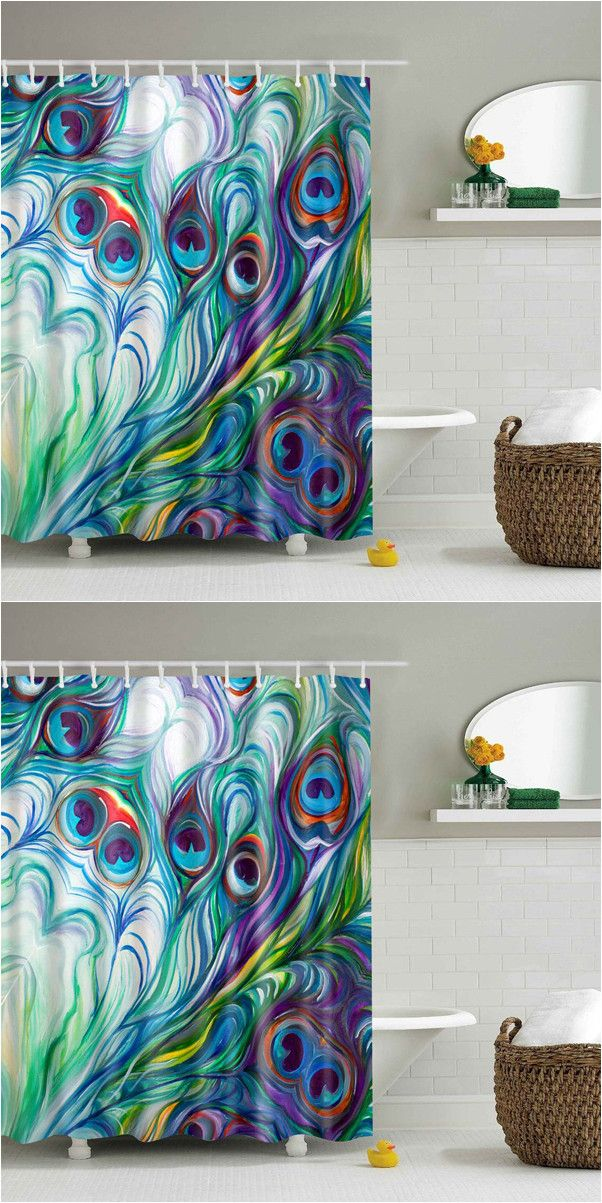 $19.71 Waterproof Mouldproof Peacock Tail Feather Shower Curtain