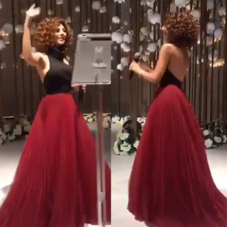 New Arrival Prom Dresses Gowns High Neck Black And Red Pleats A Line Backless Evening Dresses 2017 Arabic Myriam Fares
