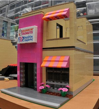 Custom City Ice Cream Shop Model built with Real LEGO (R) Bricks