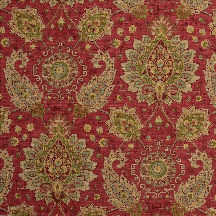 Persian Fabric: Persian Red Traditional Print Upholstery Fabric