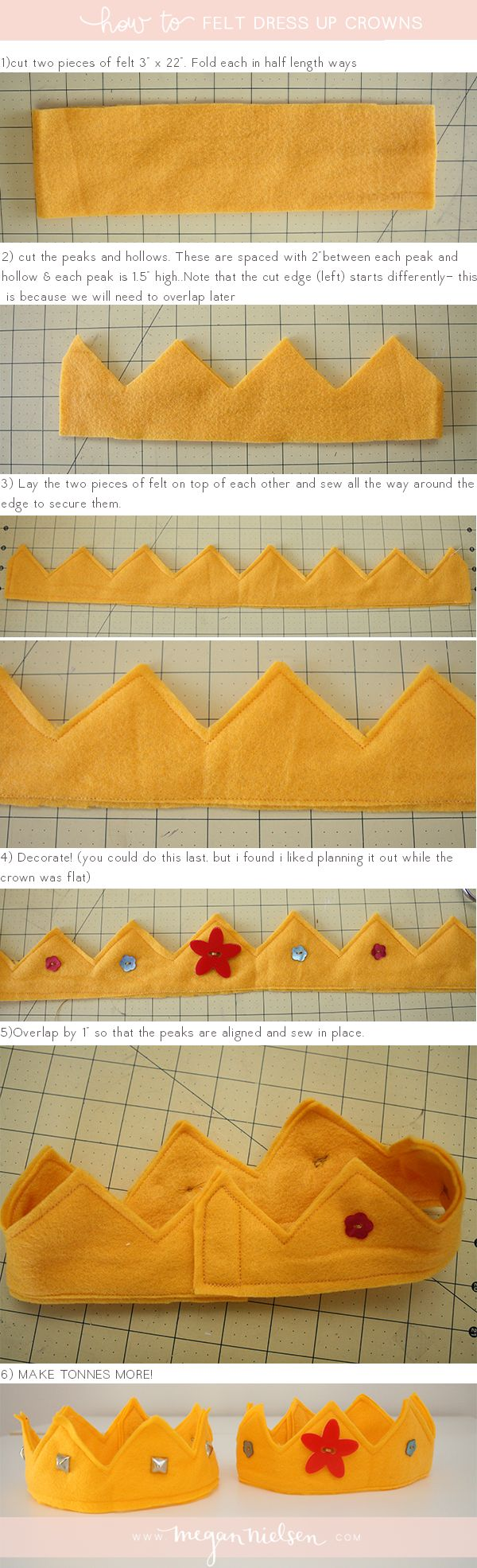 How to make felt dress up crowns