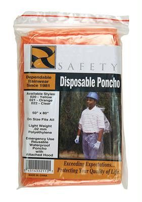 Disposable Ponchos - Orange (Dozen)