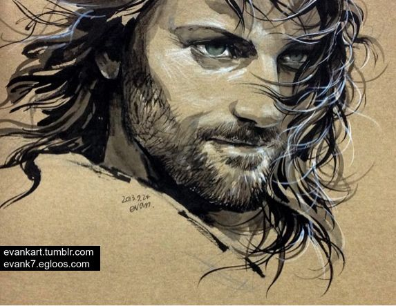 Aragorn  - scene from Two Towers Amazing LOTR Fan art!  evankart at Tumblr