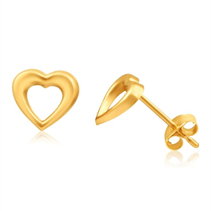 Open Heart Studs in 9ct Yellow Gold