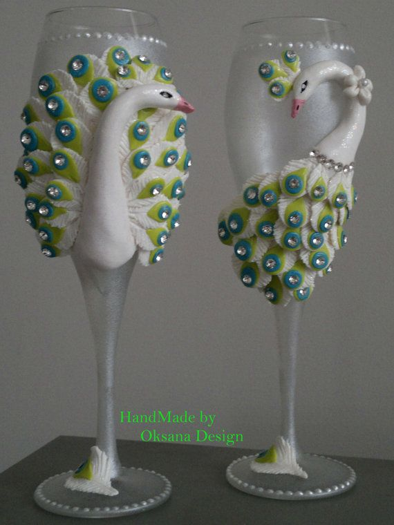 Peacock wedding glasses with crystals. by ToujourGlamour on Etsy, $78.00